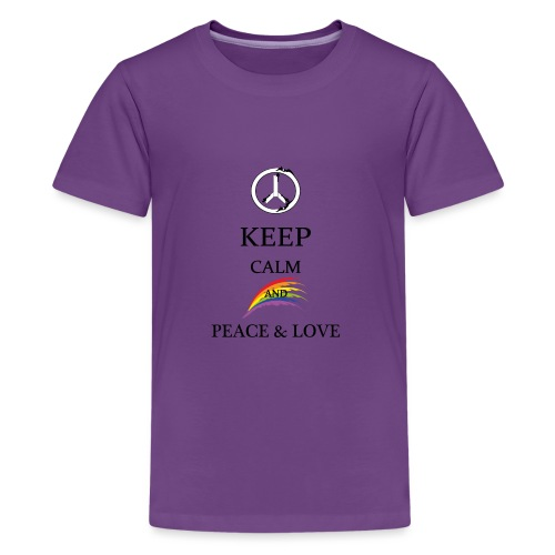 keep calm and Peace & Lov - Maglietta Premium per ragazzi