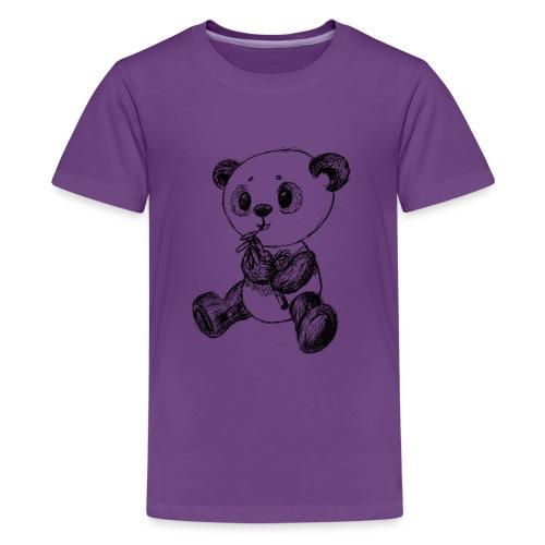Panda bjørn sort scribblesirii - Teenager premium T-shirt
