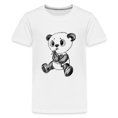 Panda Karhu musta scribblesirii - Teinien premium t-paita