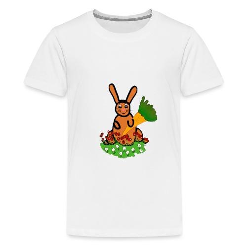 Rabbit with carrot - Teenage Premium T-Shirt