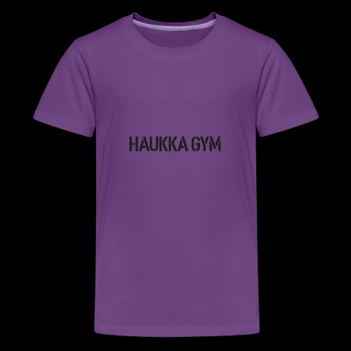 HAUKKA GYM text - Teinien premium t-paita