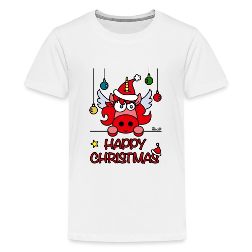 Unicorn Happy Christmas, Licorne Noël - T-shirt Premium Ado