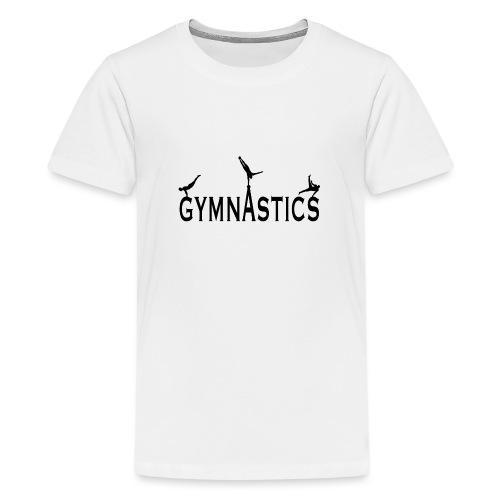 Male Gymnastics With Black Silhouttes - Teenage Premium T-Shirt