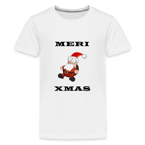 Frohe Weinachten Weihnachtsmann Schwarz - Teenager Premium T-Shirt