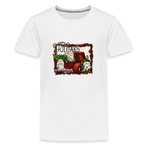 happy holidays gnomes Christmas Truck - Teenage Premium T-Shirt