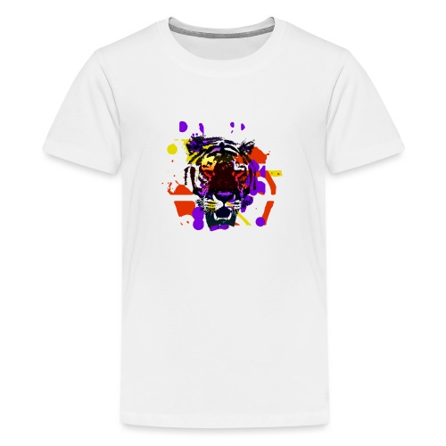 Tiger Splatter Motive - Teenage Premium T-Shirt