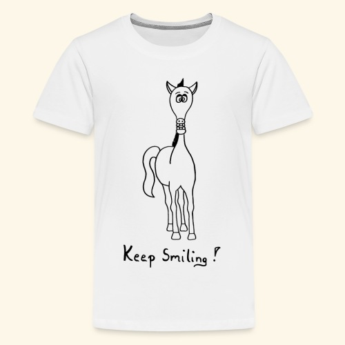 Funny Horse Keep Smiling - Teenager Premium T-Shirt
