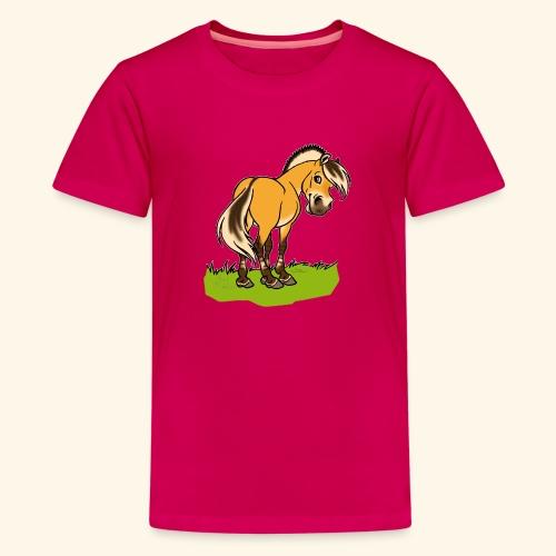 Freundliches Fjordpferd (Ohne Text) Weisse Umrisse - T-shirt Premium Ado