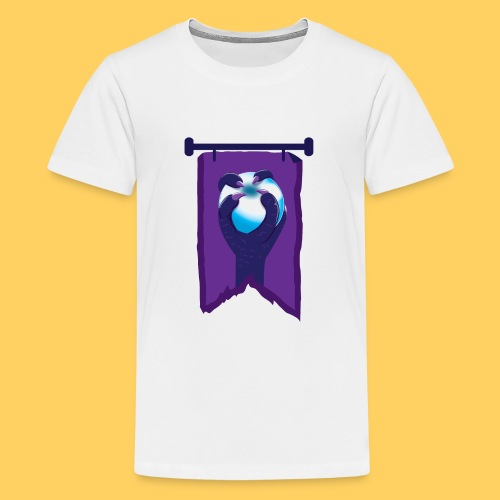 Purple banner with DRAGON fist and orb - Teenage Premium T-Shirt