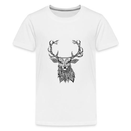 Ornate Buck Deer - Teenage Premium T-Shirt