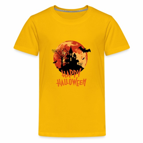 Bloodmoon Haunted House Halloween Design - Teenager Premium T-Shirt