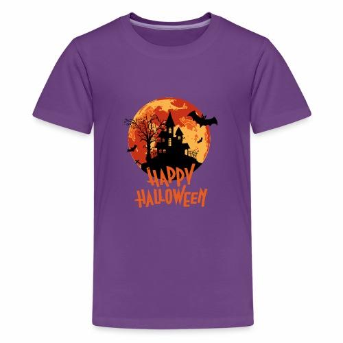 Bloodmoon Haunted House Halloween Design - Teenager Premium T-Shirt