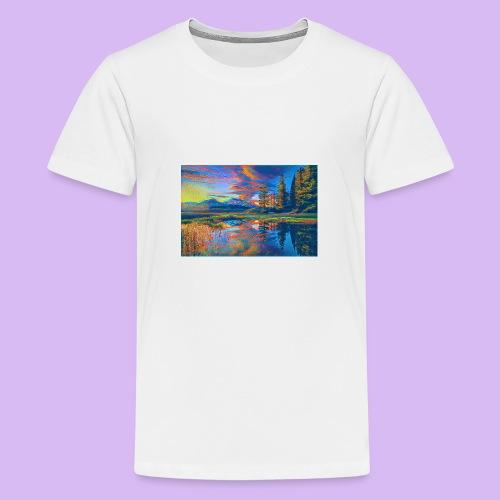 Paesaggio al tramonto con laghetto stilizzato - Maglietta Premium per ragazzi