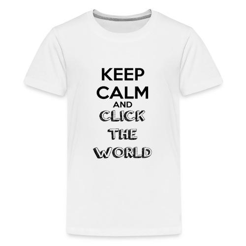 BORSA TESSUTO KEEP CALM AND CLICK THE WORLD - Maglietta Premium per ragazzi