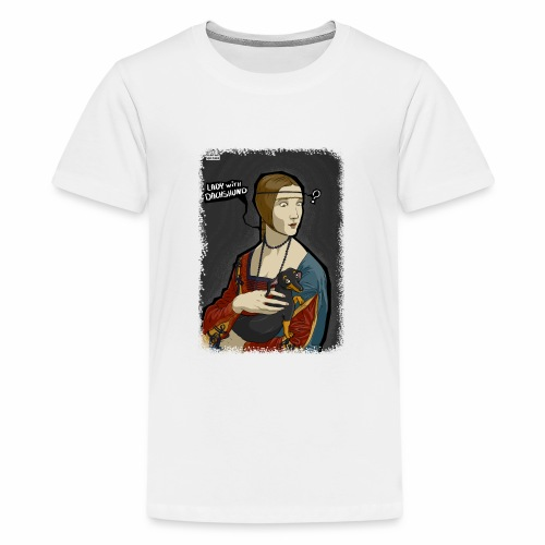 Lady with dachshund - Koszulka młodzieżowa Premium