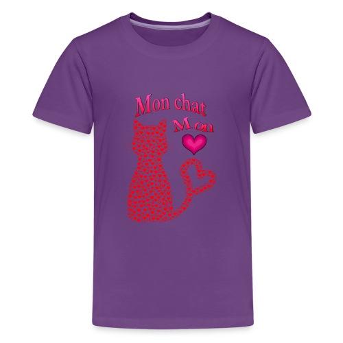 Mon chat mon coeur - T-shirt Premium Ado
