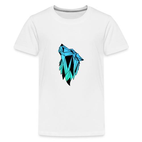 Blau-Schwarzer Wolf - Teenager Premium T-Shirt