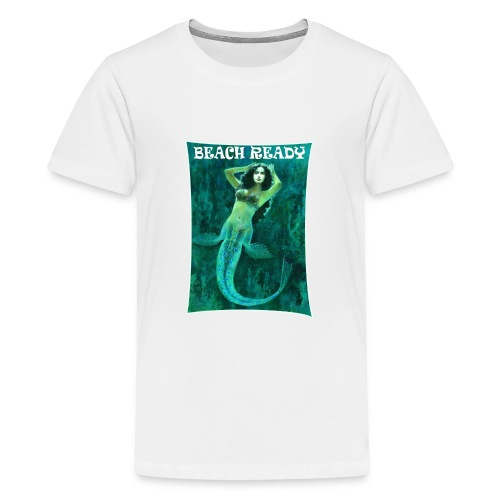 Vintage Pin-up Beach Ready Mermaid - Teenage Premium T-Shirt