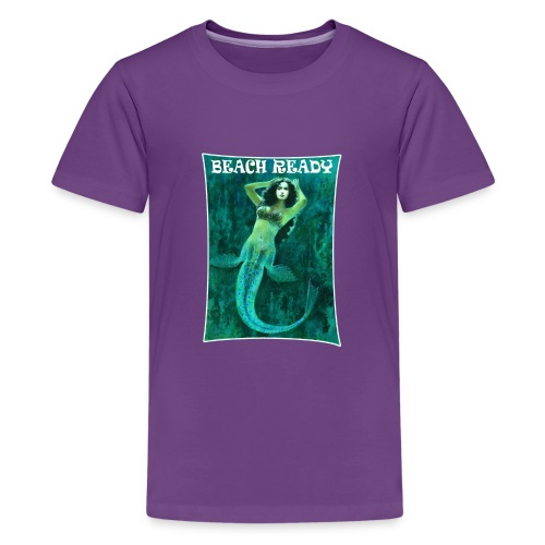 Vintage Pin-up Beach Ready Mermaid - Teenage Premium T-Shirt
