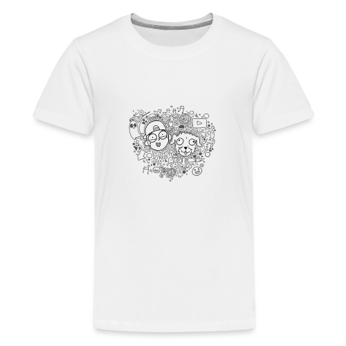 ROCKY EN KEES ZWART-WIT - Teenage Premium T-Shirt