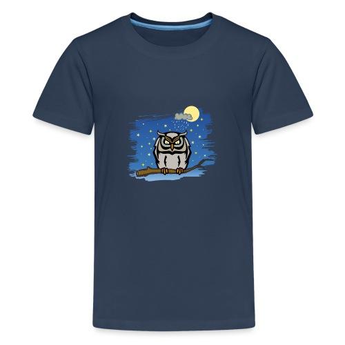 Eule Uhu Nachtschwärmer Vollmond Regenwolke Sterne - Teenager Premium T-Shirt