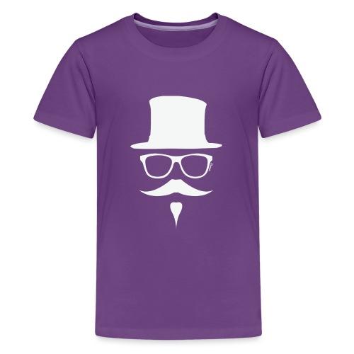 Moustachu White (H) - T-shirt Premium Ado