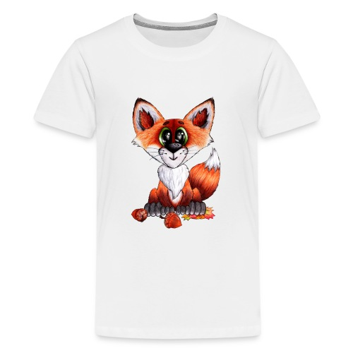 llwynogyn - a little red fox - Teinien premium t-paita
