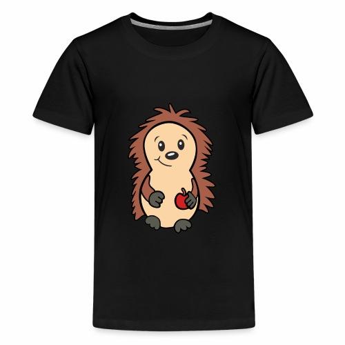 Igel mit Apfel in der Hand - Teenager Premium T-Shirt