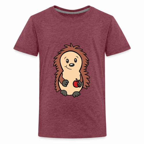 Igel mit Apfel in der Hand - Teenager Premium T-Shirt