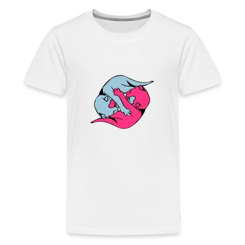 Yin and Yang Kitties - Teenage Premium T-Shirt