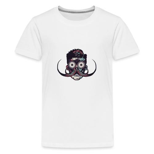 hipster tete de mort crane barbu skull moustache b - T-shirt Premium Ado