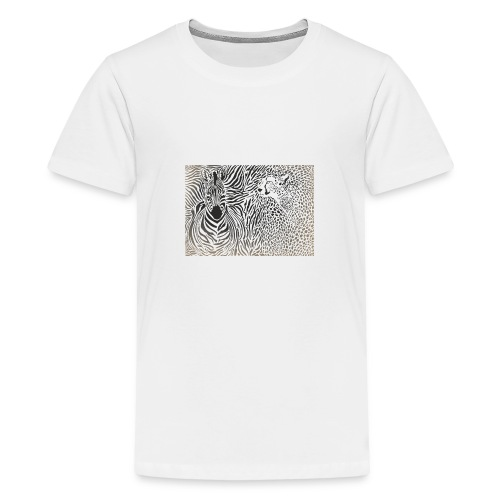 Zebra und Gepard und Musterhintergrund - Teenager Premium T-Shirt