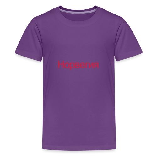 Норвегия - Russisk Norge - plagget.no - Premium T-skjorte for tenåringer