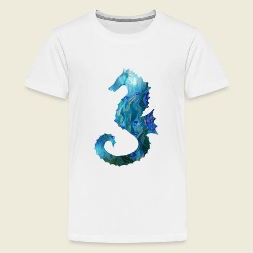 Seepferdchen blau türkis Kunst - Teenager Premium T-Shirt