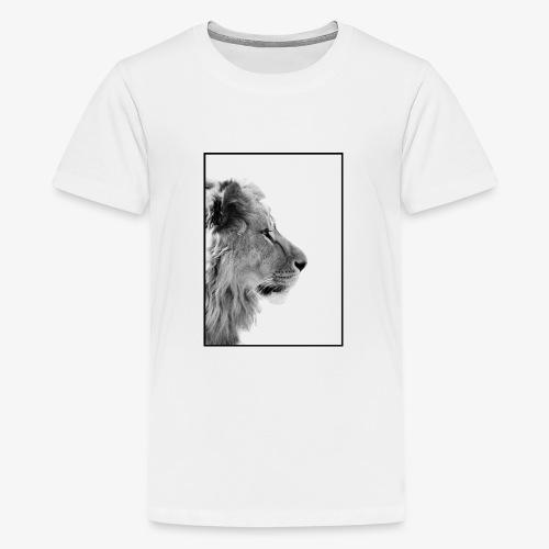 Beeindruckendes schwarz-weiß Löwe - Teenager Premium T-Shirt