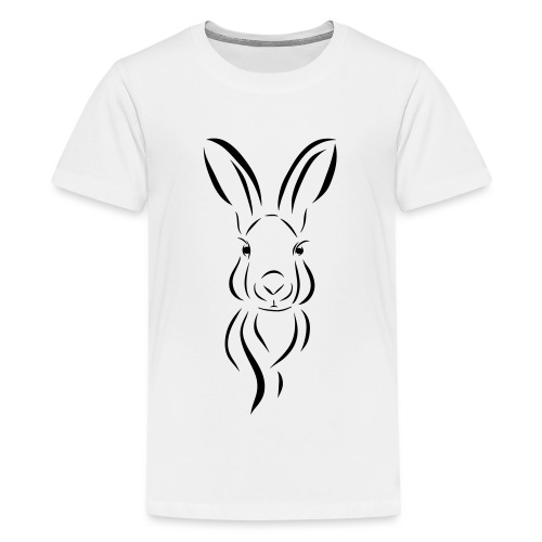 Hase Kopf Illustrartion Feldhase Löffel - Teenager Premium T-Shirt
