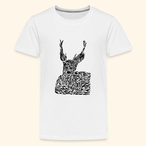 deer black and white - Teinien premium t-paita