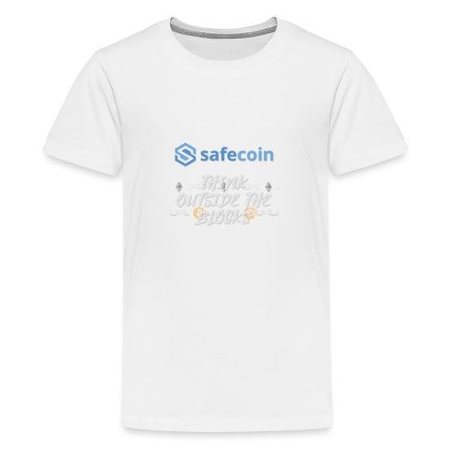 SafeCoin; Think Outside the Blocks (blue + white) - Teenage Premium T-Shirt