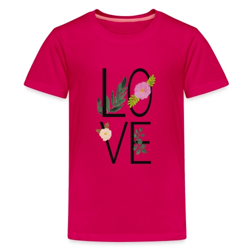 Love Sign with flowers - Teenage Premium T-Shirt