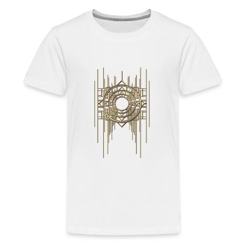 Abstract Geometry Gold Metal Art Deco Vintage - Teenage Premium T-Shirt