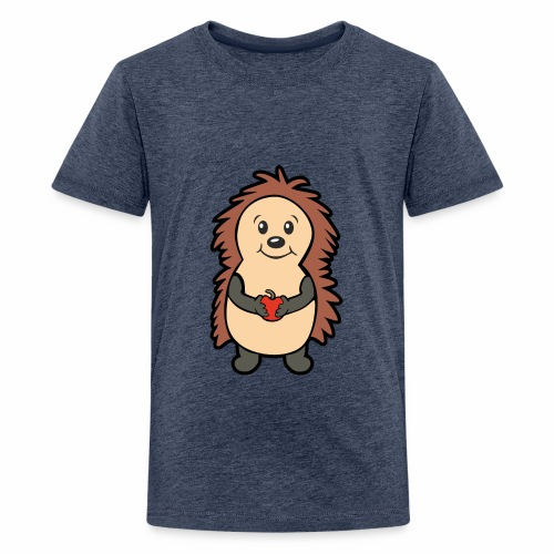 Igel mit Apfel in den Händen - Teenager Premium T-Shirt