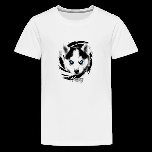 10-48 HUSKY BLUE EYES - DOG TEXTILES GIFTS WEBSHOP - Teinien premium t-paita