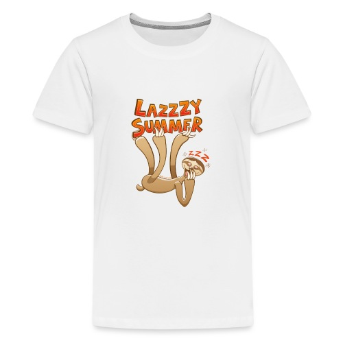 Sleepy sloth yawning and enjoying a lazy summer - Teenage Premium T-Shirt