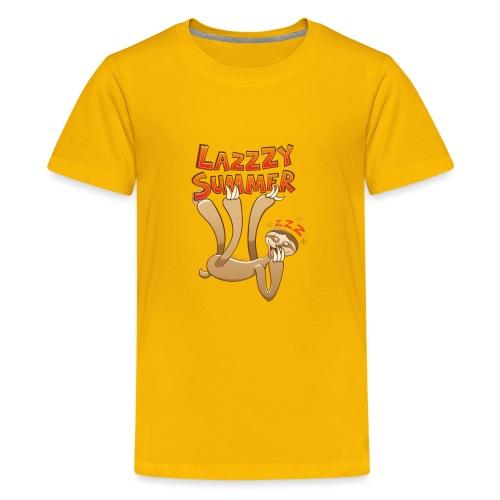 Sleepy sloth yawning and enjoying a lazy summer - Teenage Premium T-Shirt