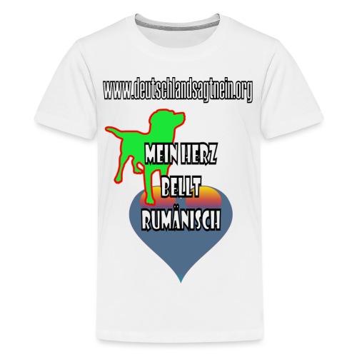 Herz bellt rumänisch - Teenager Premium T-Shirt