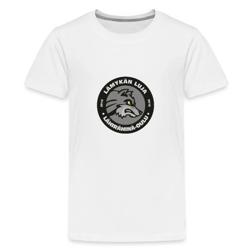 Lämykän Luja, uusi logo värikäs - Teinien premium t-paita