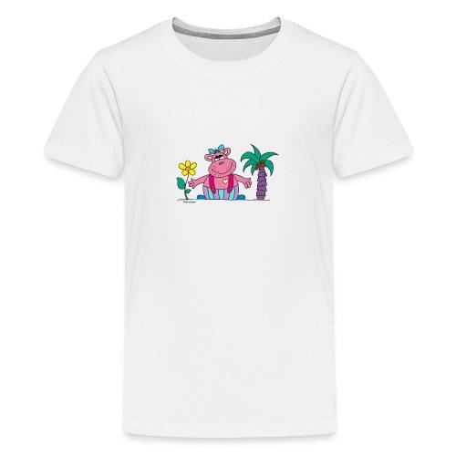 lustiges Nilpferd Sonnenblume Palme Hippo - Teenage Premium T-Shirt