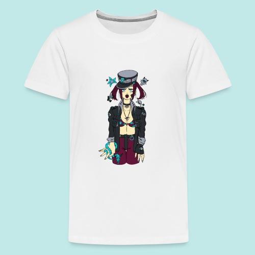 Femme manga tirant la langue avec un serpent bleu - T-shirt Premium Ado