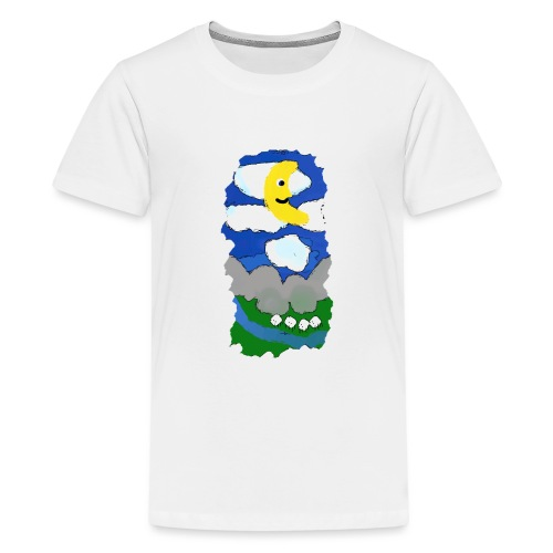 smiling moon and funny sheep - Teenage Premium T-Shirt