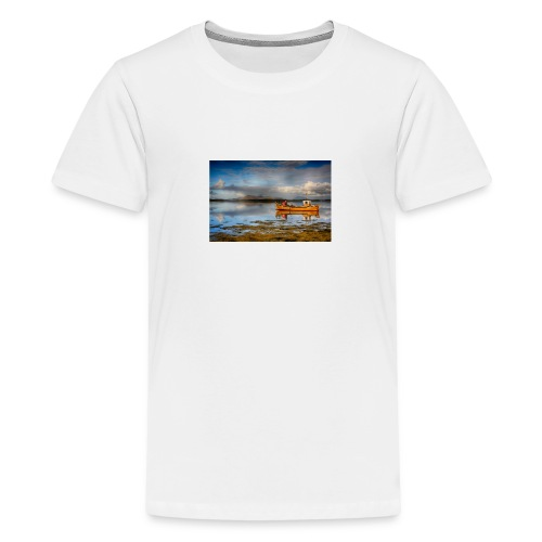 yellow boat on the sea over blue sky - Teenage Premium T-Shirt